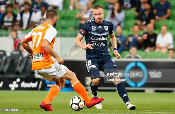 Besart Berisha of the Victory competes for the ball during the round 20 ALeague match between the Melbourne Victory and the Brisbane Roar at AAMI...