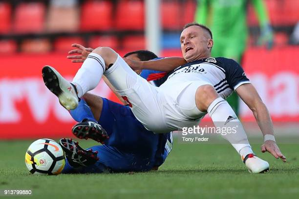 Besart Berisha of the Victory contests the ball during the round 19 ALeague match between the Newcastle Jets and the Melbourne Victory at McDonald...