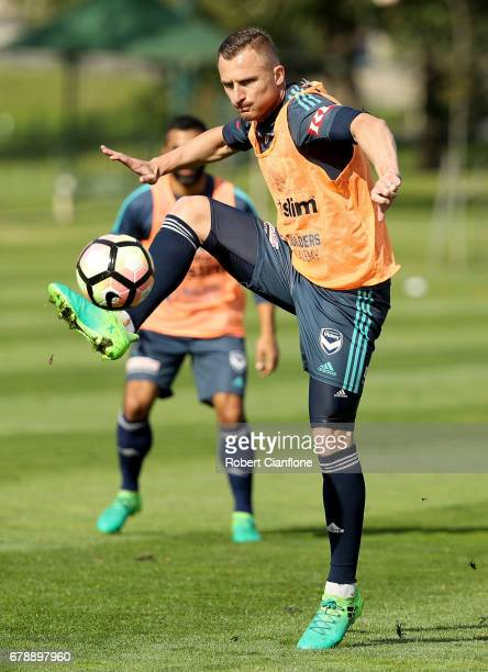 Besart Berisha of the Victory controls the ball during a Melbourne Victory ALeague training session at AAMI Park on May 5 2017 in Melbourne Australia