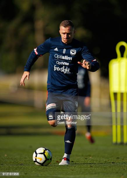 Besart Berisha of the Victory controls the ball during a Melbourne Victory ALeague training session at Gosch's Paddock on February 2 2018 in...