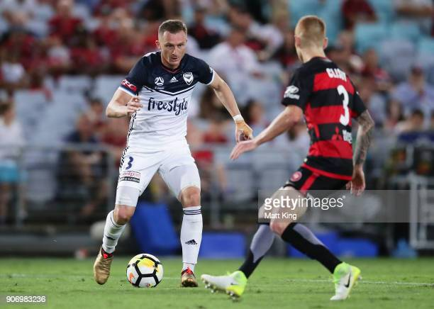 Besart Berisha of the Victory controls the ball during the round 17 ALeague match between the Western Sydney Wanderers and the Melbourne Victory at...