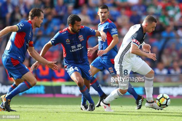 Besart Berisha of the Victory controls the ball during the round 19 ALeague match between the Newcastle Jets and the Melbourne Victory at McDonald...