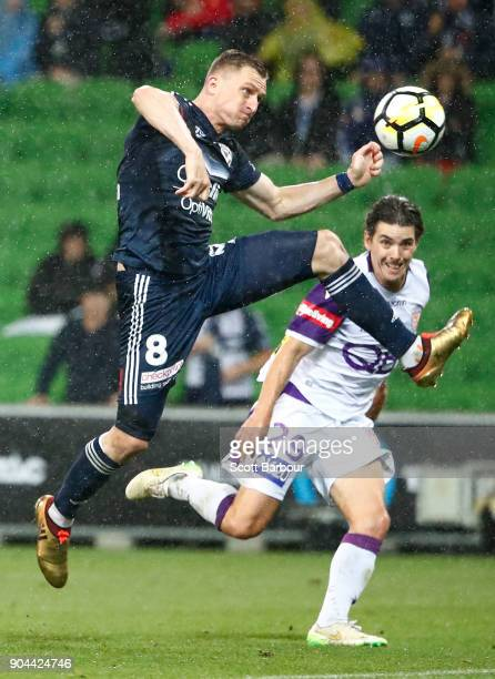 Besart Berisha of the Victory has his shot on goal saved by goalkeeper Liam Reddy of the Glory during the round 16 ALeague match between the...
