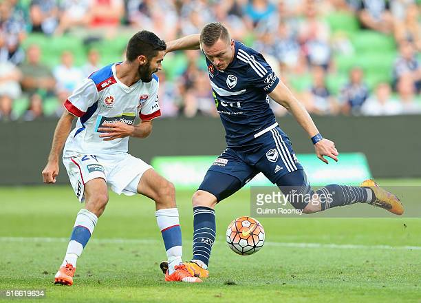 Besart Berisha of the Victory kicks a goal during the round 24 ALeague match between the Melbourne Victory and the Newcastle Jets at AAMI Park on...