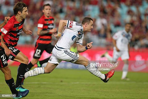 Besart Berisha of the Victory kicks during the round 10 ALeague match between the Western Sydney Wanderers and the Melbourne Victory at ANZ Stadium...