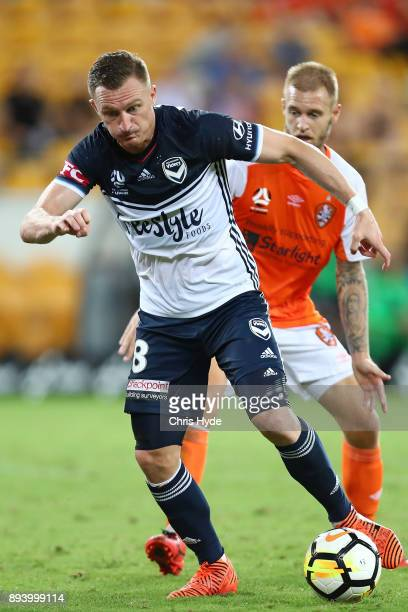 Besart Berisha of the Victory kicks during the round 11 ALeague match between the Brisbane Roar and the Melbourne Victory at Suncorp Stadium on...