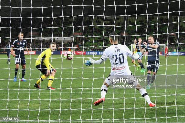 Besart Berisha of the Victory kicks his 100th goal during the round 27 ALeague match between the Melbourne Victory and the Central Coast Mariners at...