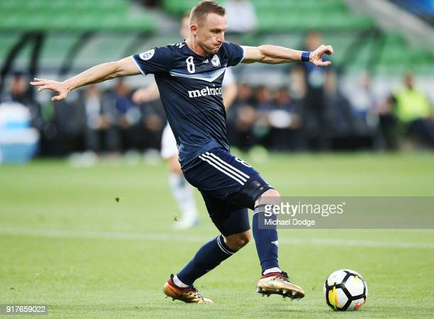 Besart Berisha of the Victory kicks the ball at goal during the AFC Asian Champions Leagu between the Melbourne Victory and Ulsan Hyundai FC at AAMI...