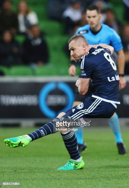 Besart Berisha of the Victory kicks the ball at goal during the round 27 A-League match between the Melbourne Victory and the Central Coast Mariners...