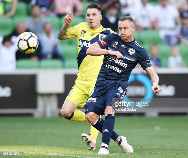 Besart Berisha of the Victory kicks the ball for a goal during the round 23 ALeague match between the Melbourne Victory and the Central Coast...