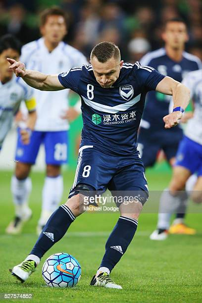 Besart Berisha of the Victory kicks the ball for a penalty goal during the AFC Champions League match between Melbourne Victory and Gamba Osaka at...
