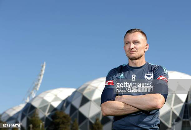 Besart Berisha of the Victory poses after a Melbourne Victory ALeague training session at Gosch's Paddock on May 4 2017 in Melbourne Australia