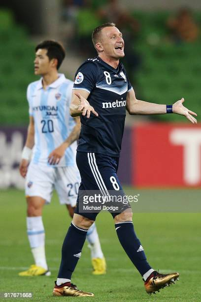 Besart Berisha of the Victory reacts after a conetst during the AFC Asian Champions Leagu between the Melbourne Victory and Ulsan Hyundai FC at AAMI...