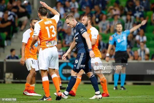 Besart Berisha of the Victory reacts after missing a shot at goal during the round 20 ALeague match between the Melbourne Victory and the Brisbane...