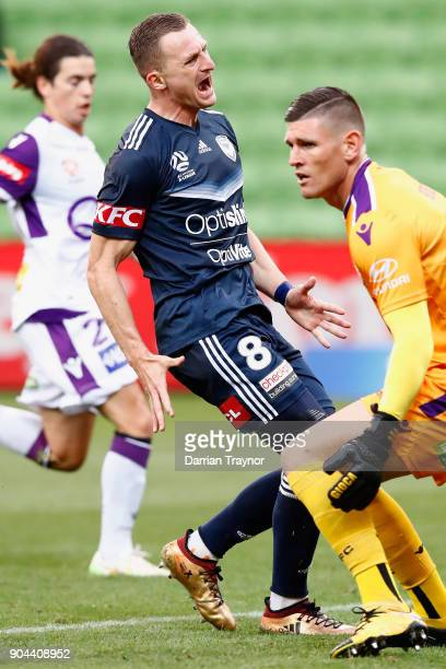 Besart Berisha of the Victory reacts during the round 16 ALeague match between the Melbourne Victory and Perth Glory at AAMI Park on January 13 2018...