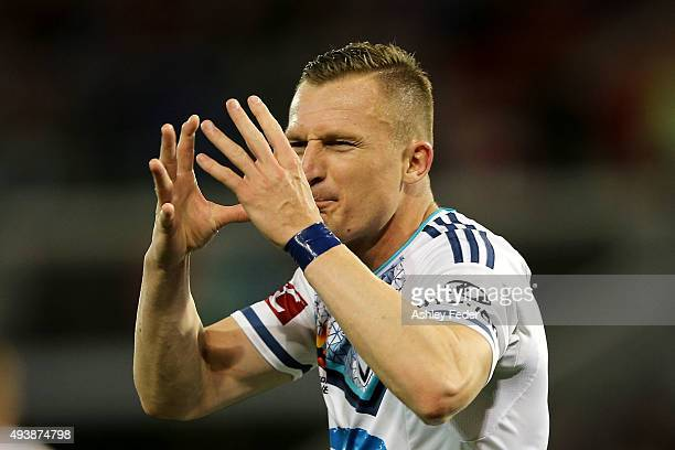 Besart Berisha of the Victory reacts to a decision during the round three ALeague match between the Newcastle Jets and the Melbourne Victory at...