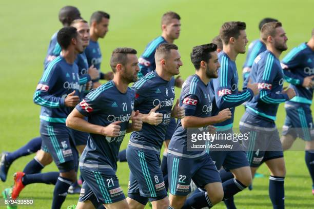Besart Berisha of the Victory runs during a Melbourne Victory ALeague training session at WIN Jubilee Stadium on May 6 2017 in Sydney Australia