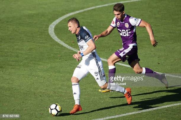 Besart Berisha of the Victory runs with the ball during the round seven ALeague match between Perth Glory and Melbourne Victory at nib Stadium on...