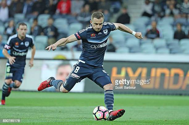 Besart Berisha of the Victory shoots and scores a goal and breaks Archie Thompsons ALeague goal scoring record during the round 13 ALeague match...