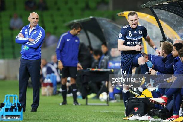 Besart Berisha of the Victory shows his frustration after being subbed to the bench by Victory head coach Kevin Muscat during the AFC Asian Champions...
