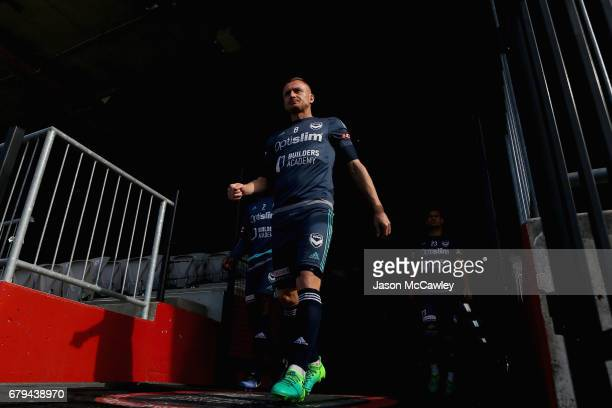 Besart Berisha of the Victory takes to the pitch to warm up during a Melbourne Victory ALeague training session at WIN Jubilee Stadium on May 6 2017...