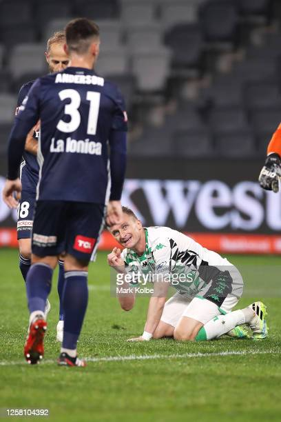 Besart Berisha of United gestures as he looks up during the round 28 A-League match between Melbourne Victory and Western United at Bankwest Stadium...