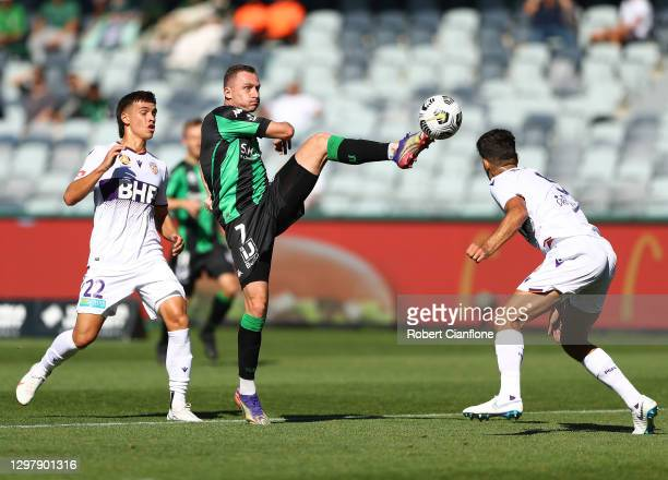 Besart Berisha of Western United attempts a shot on goal during the A-League match between Western United and the Perth Glory at GMHBA Stadium, on...