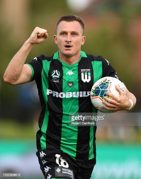 Besart Berisha of Western United celebrates after scoring his second goal during the round 16 A-League match between Western United and Adelaide...
