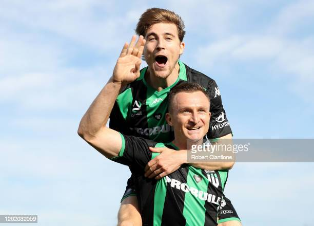 Besart Berisha of Western United celebrates with teammate Max Burgess after scoring a goal during the round 16 A-League match between Western United...