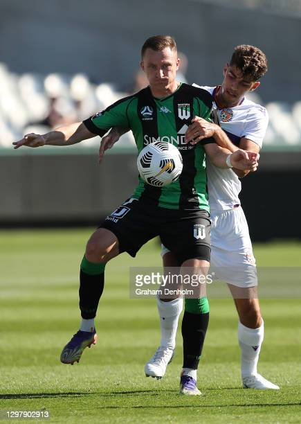 Besart Berisha of Western United controls the ball during the A-League match between Western United and the Perth Glory at GMHBA Stadium, on January...
