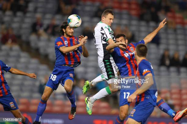 Besart Berisha of Western United heads the ball during the round 29 A-League match between the Newcastle Jets and Western United at McDonald Jones...