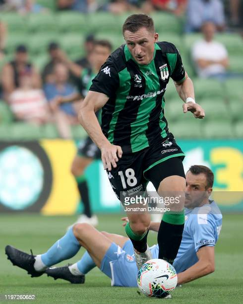 Besart Berisha of Western United in action during the round 13 A-League match between Melbourne City and Western United at AAMI Park on January 03,...