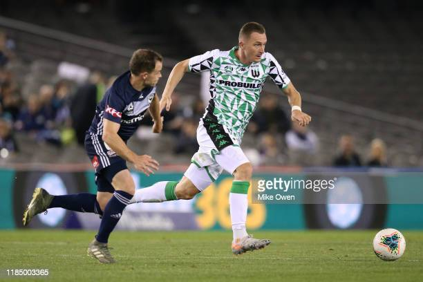Besart Berisha of Western United runs with the ball during the round four A-League match between Melbourne Victory and Western United at Marvel...
