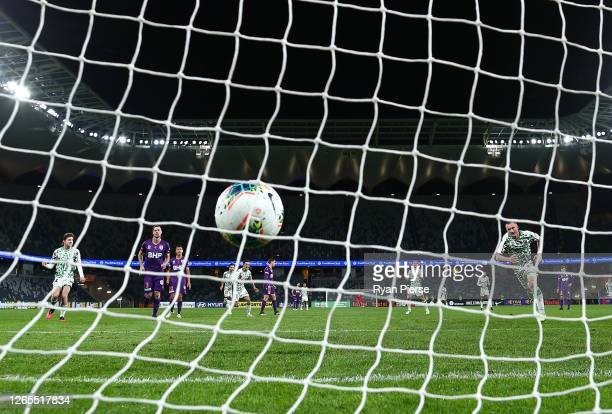 Besart Berisha of Western United scores his teams second goal during the round 24 A-League match between the Perth Glory and Western United at...