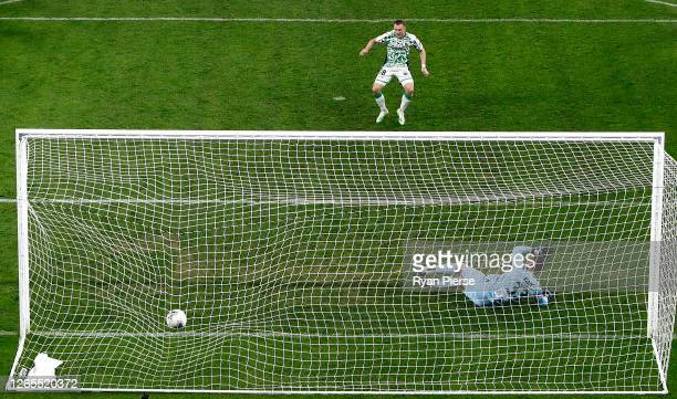Besart Berisha of Western United scores his teams second goal past Liam Reddy of the Glory during the round 24 A-League match between the Perth Glory...