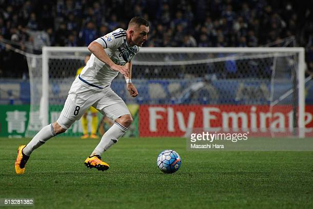Besert Berisha of Melbourne Victory in action during the AFC Champions League Group G match between Gamba Osaka and Melbourne Victory at Suita City...