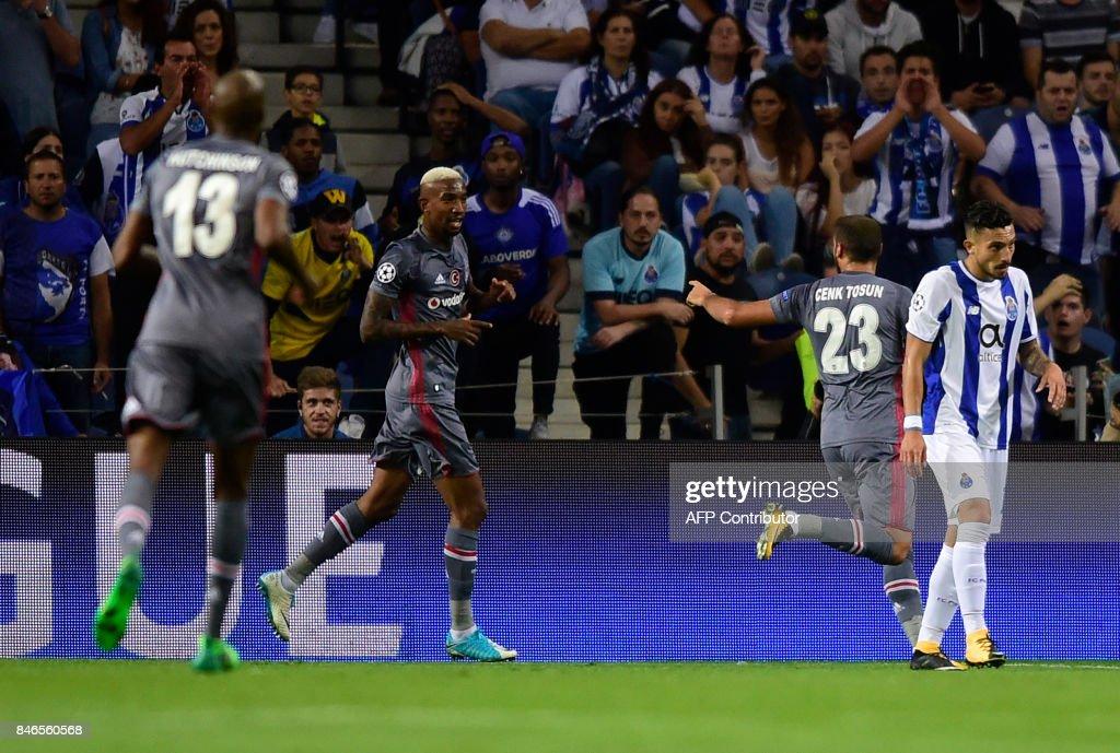 Besiktas' Brazilian midfielder Talisca (C) celebrates after scoringduring the UEFA Champions League football match FC Porto vs Beskitas JK at the Dragao stadium in Porto on September 13, 2017. /