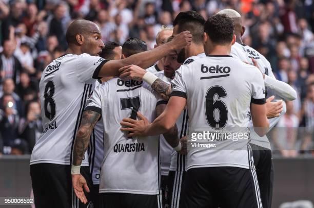 Besiktas celebrate the goal of Alvaro Negredo Sanchez of Besiktas JK during the Turkish Spor Toto Super Lig football match between Besiktas JK and...