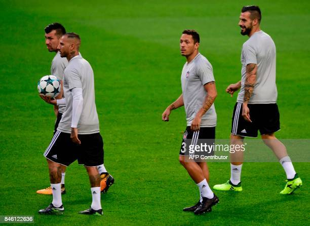 Besiktas' Chilean defender Gary Medel Portuguese midfielder Ricardo Quaresma Brazilian defender Adriano Correia and Spanish forward Alvaro Negredo...