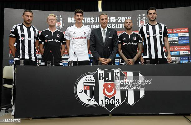 Besiktas club president Fikret Orman attends a signing ceremony with club's latest transfers Dusko Tosic Andreas Beck Mario Gomes Ricardo Querasma...