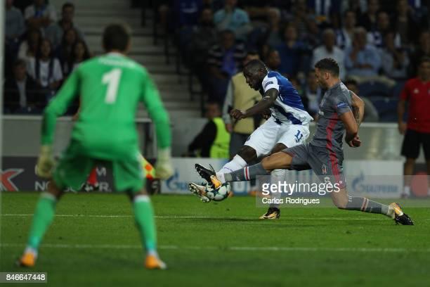 Besiktas defender Dusko Tosic from Serbia tries to stop FC Porto's forward Moussa Marega from Mali kick during the match between FC Porto v Besiktas...