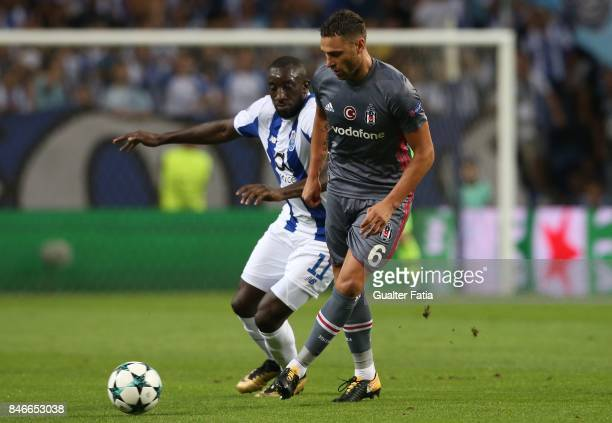Besiktas defender Dusko Tosic from Serbia with FC Porto's forward Moussa Marega from Mali in action during the UEFA Champions League match between FC...