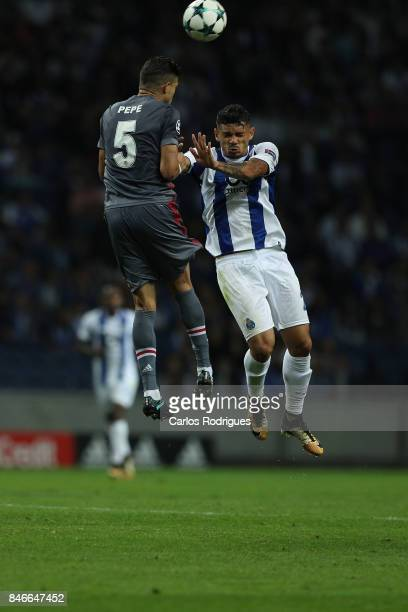 Besiktas defender Pepe from Portugal vies with FC Porto's forward Tiquinho Soares from Brazil during the match between FC Porto v Besiktas JK for the...
