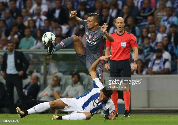Besiktas defender Pepe from Portugal with FC Porto's forward Tiquinho Soares in action during the UEFA Champions League match between FC Porto and...