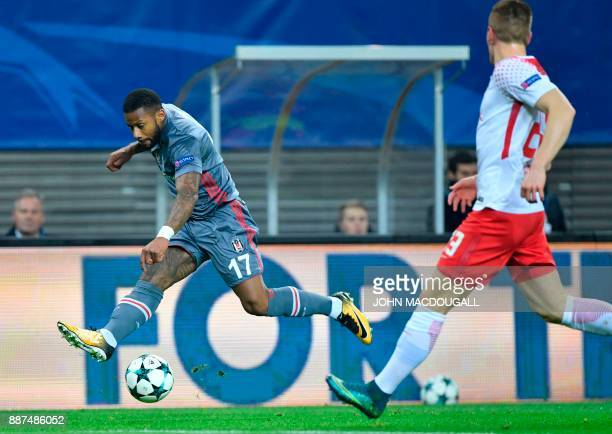 Besiktas' Dutch midfielder Jeremain Lens vies with Leipzig's German defender Marcel Halstenberg during the UEFA Champions League group G football...