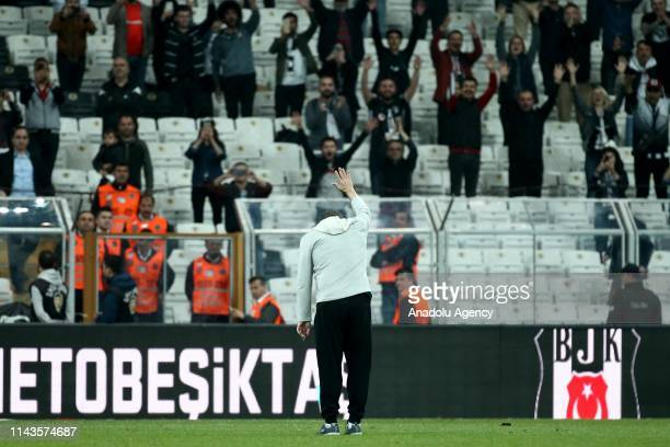 Besiktas' fans applaud head coach of Aytemiz Alanyaspor Sergen Yalcin after the Turkish Super Lig soccer match between Besiktas and Aytemiz...