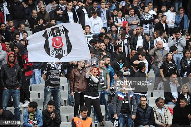 Besiktas fans before the Turkish Super League match between Besiktas and Fenerbahce at the Ataturk Olympic Stadium on April 20, 2014 in...