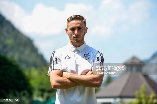 Besiktas' football player Tyler Boyd poses for a photo after a press conference within his club's summer camp as part of the Turkish Super Lig new...