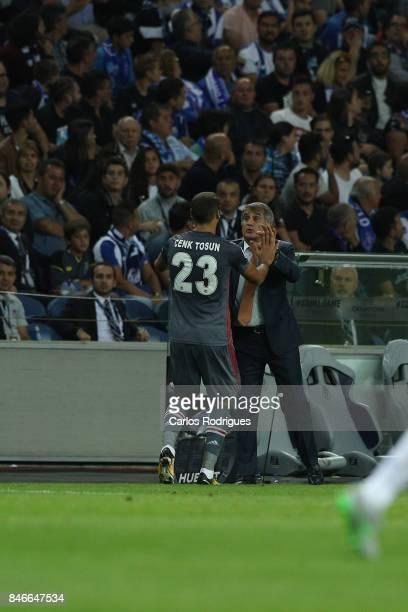 Besiktas forward Cenk Tosun from Turkey celebrate scoring Besiktas second goal with Besiktas head coach Senol Gunes from Turkey during the match...