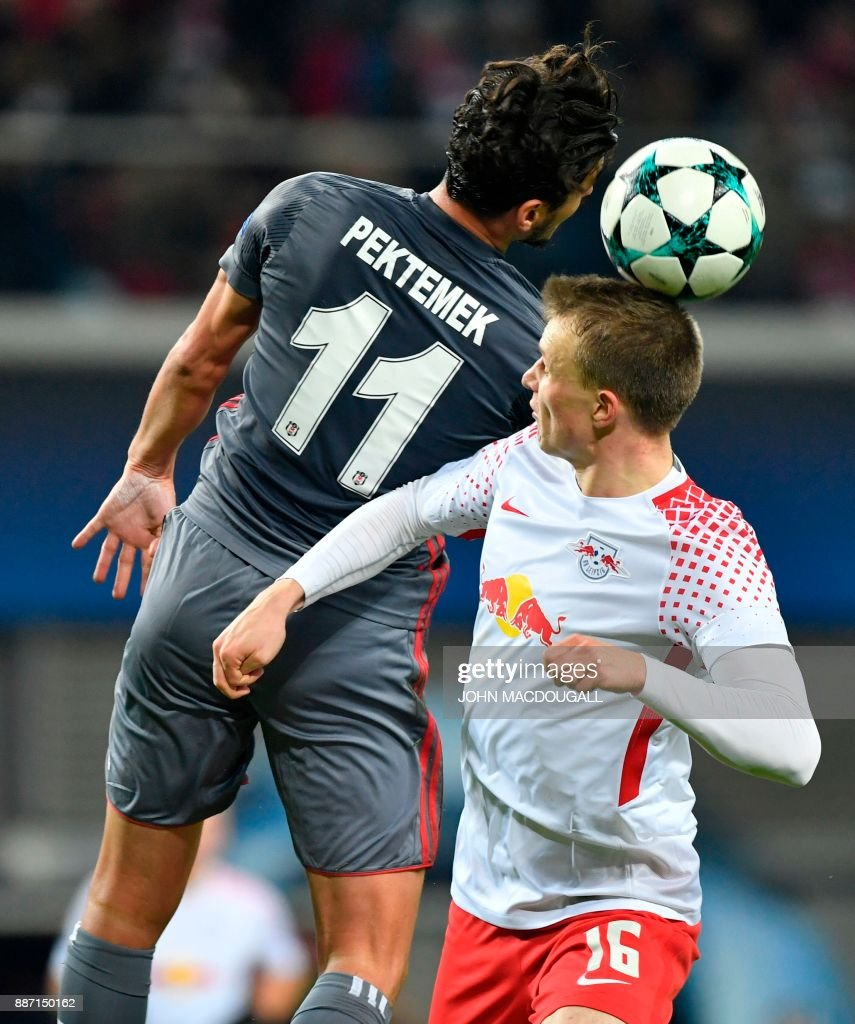 Besiktas' forward Mustafa Pektemek (L) and Leipzig's German defender Lukas Klostermann vie for the ball during the UEFA Champions League group G football match RB Leipzig vs Besiktas in Leipzig, eastern Germany, on December 6, 2017. / AFP PHOTO / John MACDOUGALL